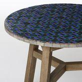 west elm Mosaic Tiled Bistro Table - Indigo Hex + Driftwood Base