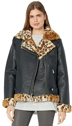 Sam Edelman Leopard Trim Bomber (Camel) Women's Clothing