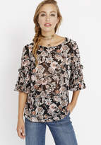 Buffalo David Bitton Floral Top with Gathered Detail Sleeves