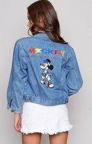 Beginning Boutique Vintage Base Ballin' Mickey Cropped Denim Jacket