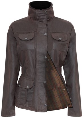 Castle Ladies Champion Ellon Lined Waterproof Wax Fabric Belted Design Jacket Coat - Brown - 12
