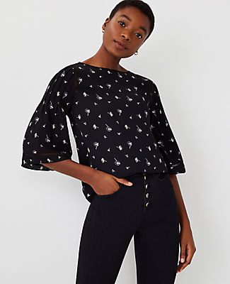 Ann Taylor Floral Mixed Media Flare Sleeve Top