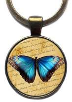 Elysian Workshop Blue Butterfly Keychain Keyring (Antique Bronze)