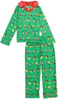 Komar Kids Green & Red Peanuts Ruffle-Collar Pajama Set - Girls