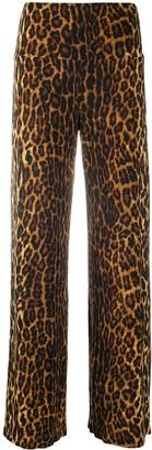 Norma Kamali Leopard Print Straight-Leg Trousers