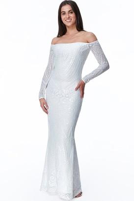 Goddiva White Off The Shoulder Long Sleeve Sequin Maxi