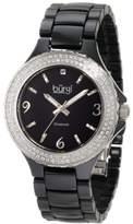 Burgi Women's BU47BK Round Swiss Quartz Diamond Ceramic Mother of Pearl Quartz Watch