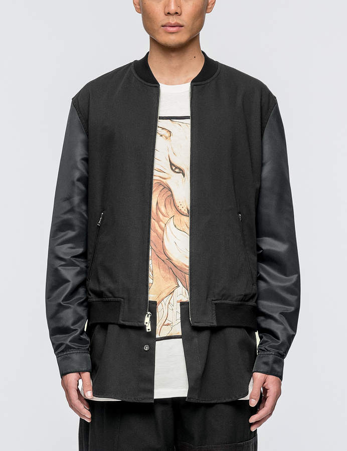 3.1 Phillip Lim Classic Bomber Shirt Jacket with Nylon Sleeves