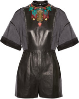 Valentino Embroidered silk-organza and leather playsuit