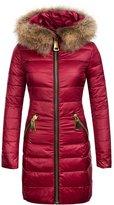 Z.D.SUIYUE Women's Fur Collar Duck Down Parka Coat Ladies Long Slim Hooded Jacket(, Small)