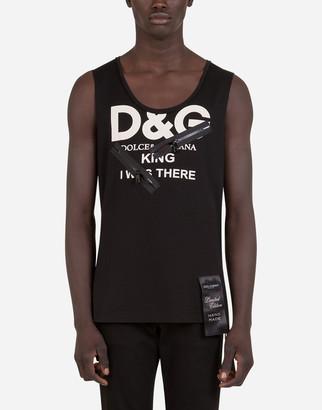 Dolce & Gabbana Sleeveless T-Shirt With Print And Zipper