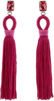 Oscar de la Renta Crystal-embellished long tassel clip-on earrings