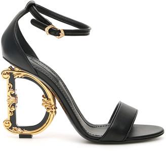 Dolce & Gabbana BAROCCO KEIRA SANDALS 39 Black Leather