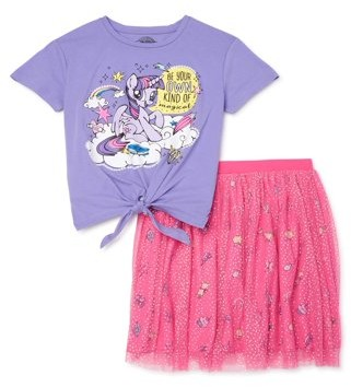 My Little Pony Girls Tie Front Top and Glitter Printed Tutu Skirt, 2-Piece Outfit Set, Sizes 4-16