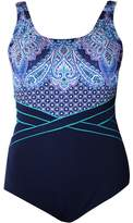 Poolproof Paisley Piped Scoop Back One Piece