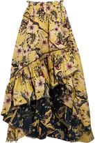 Philosophy di Lorenzo Serafini - Asymmetric Ruffled Floral-jacquard Maxi Skirt - Yellow