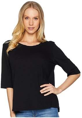 Michael Stars Supima(r) Cotton Slub Elbow Sleeve Swing Tee (Black) Women's T Shirt