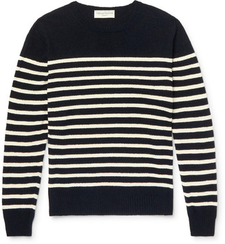 Officine Generale Ansel Striped Textured-Cotton Sweater
