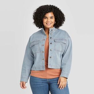 Universal Thread Women's Plus Size Striped Long Sleeve Railroad Denim Jacket - Universal ThreadTM Blue