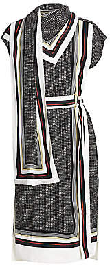 Proenza Schouler Women's Belted Logo-Printed Scarf Dress - Size 0