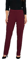 As Is Susan Graver Soho Ponte Fly Front Pants w/ Faux Leather -Petite