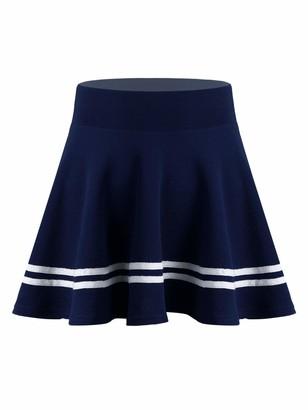Oyolan Womens Japan Schoolgirl Uniform High Waist Striped Pleated A-line Mini Skirts Tennis Skirt Navy Blue XL