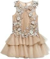 Mischka Aoki Floral Embellished Tulle Dress