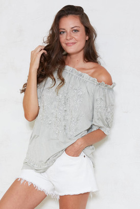 Solitare Fashion Solitaire Fashion Embroidered Off The Shoulder Top Olive S