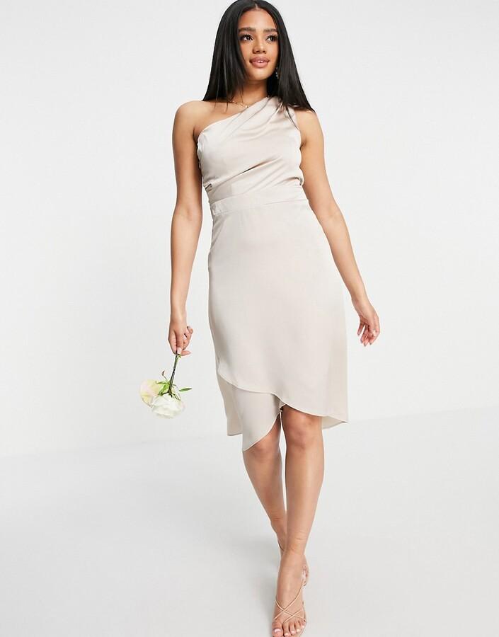 TFNC Bridesmaid one shoulder midi dress in mink