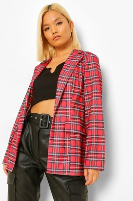 boohoo Petite Tartan flannel Blazer