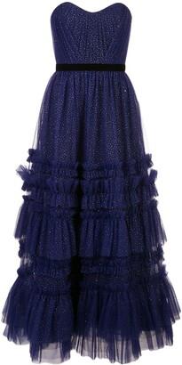 Marchesa Glitter Ruffle Gown
