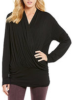 Moa Moa Long Sleeve Surplice Keyhole Back Top