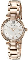 GUESS Women's U0767L3 Dressy Rose Gold-Tone Watch with White Dial , Crystal-Accented Bezel and Stainless Steel Pilot Buckle
