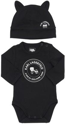 Karl Lagerfeld Paris Cotton Interlock Bodysuit & Hat