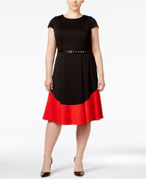 Calvin Klein Plus Size Belted Colorblocked A-Line Dress