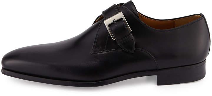 Magnanni Buckle-Strap Leather Loafer, Black