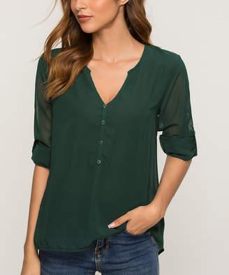 Fee et rit Women's Blouses Green - Dark Green Sheer-Back V-Neck Top - Women