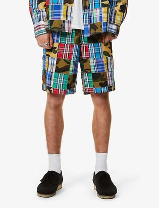 A Bathing Ape Patchwork wide-leg cotton shorts