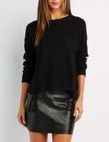 Charlotte Russe Shaker Stitch Lace-Up Detail Sweater