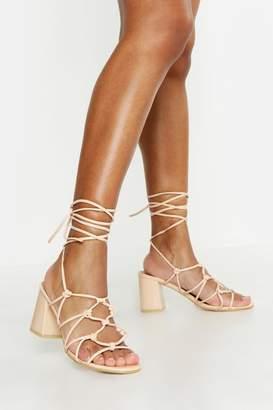 boohoo Caged Wrap Strap Low Block Heels