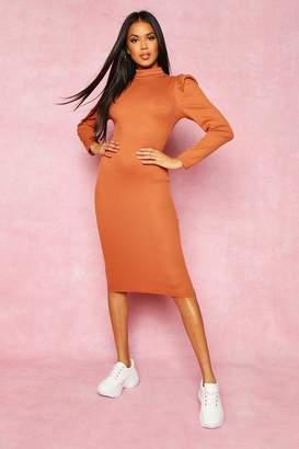 boohoo Recycled High Neck Puff Sleeve Midi Dress