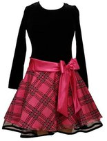 Bonnie Jean Girls Fuchsia and Black Hipster Dress with Fuchsia Bow