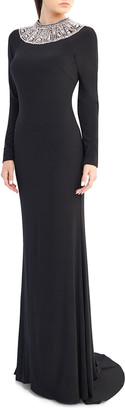 Mac Duggal Ieena for Embellished Crewneck Long-Sleeve Jersey Gown