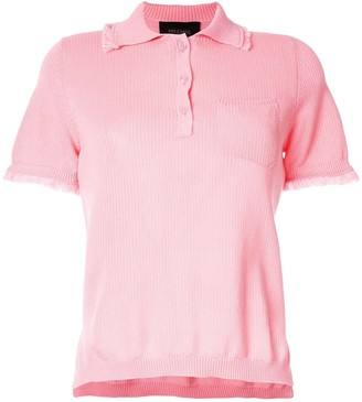 Mr & Mrs Italy frayed hem polo shirt