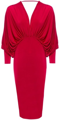 Sarvin Lea Red Plunge Front and Back Batwing Midi Dress
