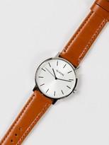 Nixon Porter Leather 40mm Modern Minimalist Analogue Watch in White & Saddle