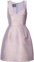 Monique Lhuillier metallic flared dress - women - Silk - 4