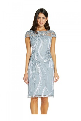 Adrianna Papell Ribbon Embroidered Cocktail Dress