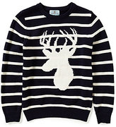 Class Club Big Boys 8-20 Striped Stag Elbow-Patch Sweater