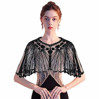 Ladiery Women's 1920s Shawl Sequin Gatsby Cape Evening Bolero Flapper Cover Up Party Shrug Wraps
